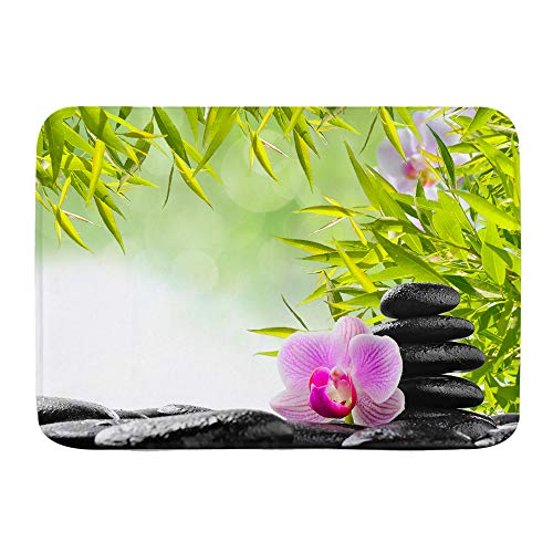 VAMIX Alfombra de Baño Antideslizante,Concepto de SPA con Piedras Zen y orquídea,45x75cm Absorbente Tapete del Piso de Microfibra de Lavable a Máquina