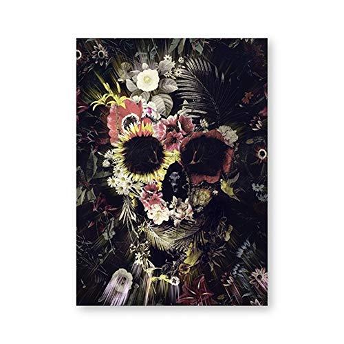 tzxdbh Suiker Schedel Canvas Posters en Prints Muurfoto's Home Room Decor Bloemen Abstract Schedel Muur Kunst Gift Kunstwerk Schilderen-in Schilderij & Kalligrafie van boven 40x50 cm No Frame Ph5361