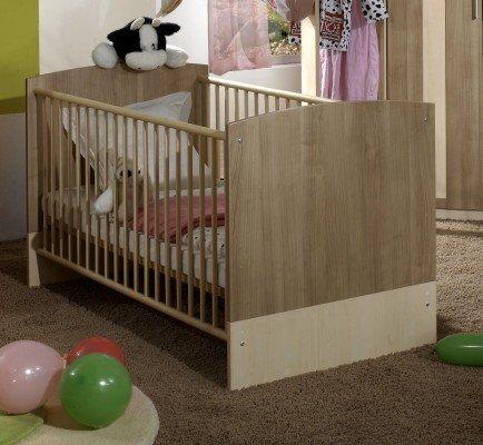 Wimex Babybett 316224 Lilly, Weiß, Abs. San Remo-Eiche-Nachbildung