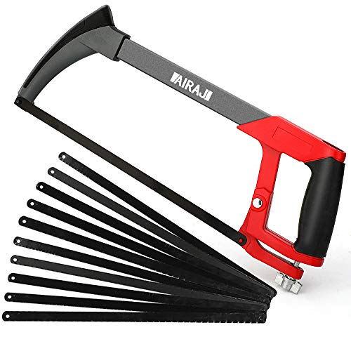 AIRAJ 12 Adjustable Hacksaw Frame, Two Cutting Angles (45°/90°), with 10 Hacksaw Blades, Suitable for Gardeners, Carpenters, Plastic Pipes, Metal Pipes, Wood Saws