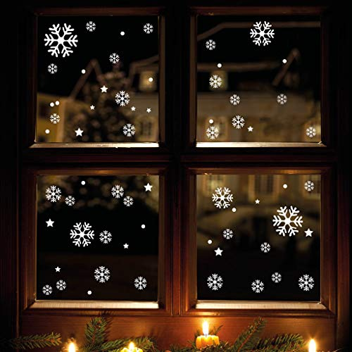 Wandtattoo-Loft XXL Fensterbild Schneeflocken 120 x Aufkleber im Set – WIEDERVERWENDBAR - Schneeflocken, Sterne und Punkte Fensteraufkleber/Fensterbilder/Fensterdeko Set