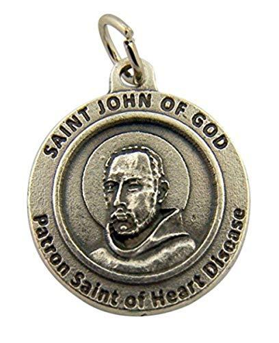 Silver Tone Saint John of God Patron Saint of Heart Disease Medal, 3/4 Inch