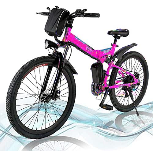 Faltbares E-Bike,36V 250W Elektrofahrräder, 8A Lithium Batterie Mountainbike,26 Zoll Große Kapazität Pedelec mit Lithium-Akku und Ladegerät PU