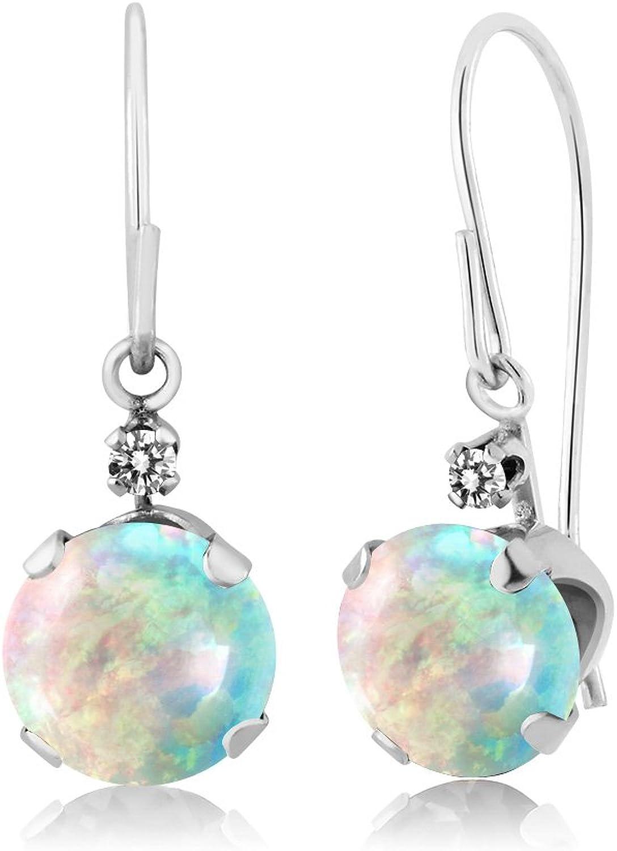 1.33 Ct Round White Simulated Opal White Diamond 14K White gold Earrings