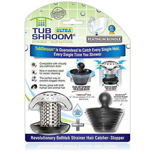 TubShroom Ultra Revolutionary Bath Tub Drain Protector Hair Catcher/Strainer/Snare, Stainless Steel