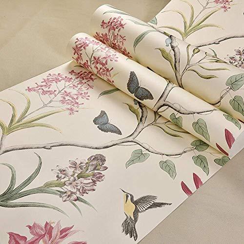 Mariisay Papel Pintado Birds 53Cmx1000Cm Dormitorio Sala De Estar Tv Chic Fondo De Pantalla Retro Estilo Rústico Flores Y...