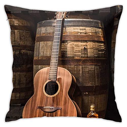 SHENGANG Fundas de almohada decorativas para vino y guitarra, cuadradas, con cremallera oculta, para sofá, cama y coche