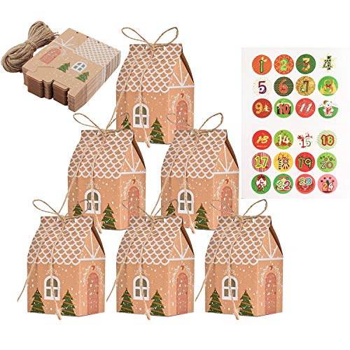 TATAFUN Adventskalender zum Befüllen, Adventskalender Tüten mit 24 Zahlenaufklebern, Geschenkbeutel Weihnachtskalender Tüten, Weihnachtskalender DIY Bastelset