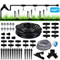 Drip Irrigation,Garden Irrigation System(70ft+35ft),DIY Plant Watering System,Distribution Tubing Hose,Saving Water Kit Accessories,Automatic Irrigation Equipment Set for Garden Greenhouse,Patio,Lawn
