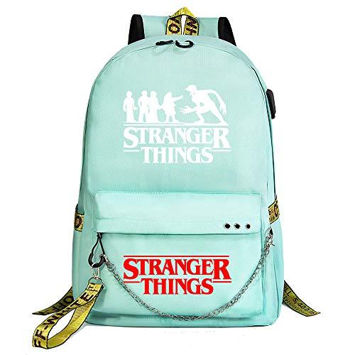 """Schultasche """"Stranger Things"""" (Unisex Fashion Laptop-Rucksack) mit USB-Ladeanschluss 45/32/15cm Grün"""