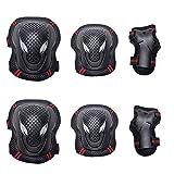 BLEVET 6PCS Protectores para Skate Patinaje Proteccion Protector de Muneca Guardias para Rodilleras y Coderas MZ071 (Black&Red, S)