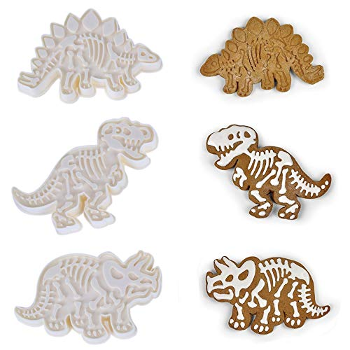 YOUDirect Dinosaur Cookie Cutters, 3 Sets of T-Rex Stegosaurus Triceratops Dinosaur Cookie Molds and Stencils for Kids DIY Baking Cake Fondant/ Biscuit/ Play Dough