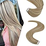 YoungSee Tape Extensions Blond Dickes Haar - Ombre Aschblond Strähnchen mit Blond Tape in Haar...