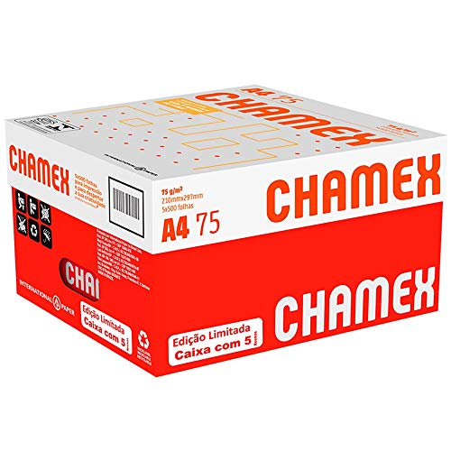 Papel Sulfite, Chamex, A4, 75 Gramas, Branco, Caixa com 5 Pacotes de 500 Folhas