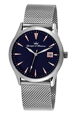 YONGER&BRESSON Homme Date Standard Quartz Montre avec Bracelet en Acier Inoxydable HMC 046/GM