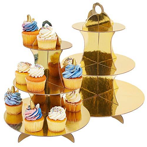 JINLE 2 Stück Tortenständer aus Karton Etagere 3 Etagen Servierständer Muffinständer, Gold Cupcake Ständer für Geburtstag Party, Kaffeetafel, Hochzeit, Babypartys - Wiederverwendbar