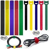 FineGood 100 Paquetes Ataduras Cables con 2 Tipos, Reutilizables Fijación Gestión Organizador Cuerda Tableta PC Computadora Portátil TV Home Office Electronics Wire -5 Colores