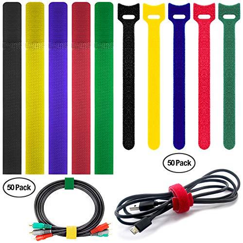 FineGood 100 Pack Kabelbinder mit 2 Typen, Mehrfarbige Wiederverwendbare Befestigung Klebeband Seil Organizer Management für Tablet Laptop PC TV Home Office Elektronik Wire -5 Farben