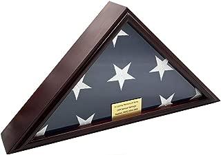 DECOMIL - 5x9 Burial/Funeral/Veteran Flag Elegant Display Case, Solid Wood, Cherry Finish, Flat Base (5x9, Flat)