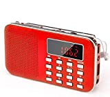 PRUNUS J-908 Mini Portable Pocket AM FM Radio with LED Flashlight, Digital Radio Speaker Music Player Support Micro SD/TF Card/USB, Auto Scan Save, 1200mAh Rechargeable Battery Operated(Red)