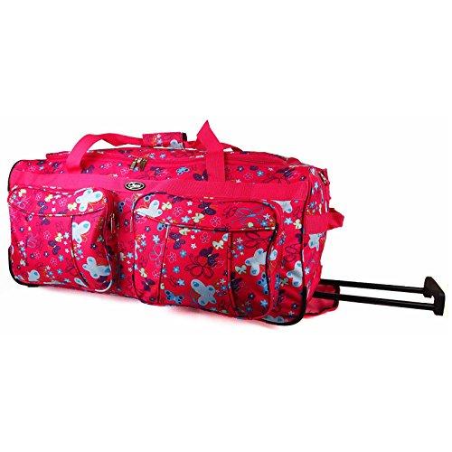 Da donna ragazza cuori a mano deposito gravidanza palestra con rotelle Borsa da viaggio (grigio/rosa/viola/bianco) (45,72 cm, 50,8 cm, 66,04 cm, 76,2 cm)