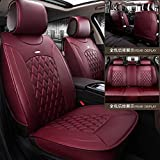 De Cuero Coche Auto Cubiertas del Asiento 5 Asientos del Sistema Completo Universal Fit (Color : Luxury Claret)