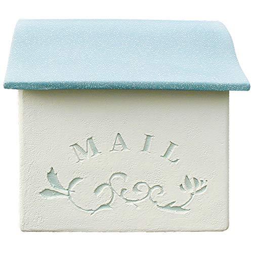 おしゃれ ポスト スタッコ 壁掛けタイプ ディーズ ガーデン (アクア)ブロック塀塗り壁メールボックスヨーロッパ風洋風郵便deasgarden可愛いかわいい白色青色水色ブルーcutewhiteblue
