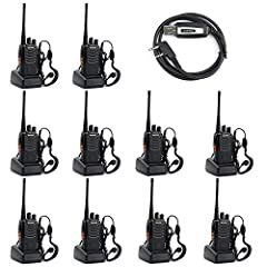 Walkie Talkie Model: Baofeng BF-888S;16 channel; Each radio has a earpiece. Desktop Charger with EU plug Frequency Range: 400-470MHz; Low battery alarm; 50 CTCSS/105 CDCSS 1500mAh Li-ion battery; Low Voltage Alert; Intelligent Charging.Transmitter Ti...
