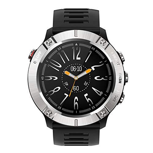 Reloj deportivo inteligente rastreador de ejercicios Bluetooth reloj de pulsera militar resistente al agua con frecuencia cardíaca reproducción de música para hombres mujeres Android e Ios,Plata