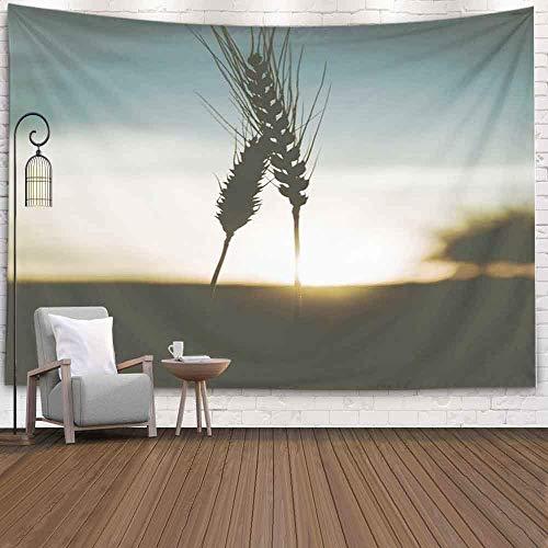 Tapiz decorativo, estilo popular Majestuoso campo de puesta de sol Espigas de trigo Influenciado Fondo de sol Concepto de cielo pálido Cosecha rica Tapiz de dormitorio Tapiz de sala de estar Decoració