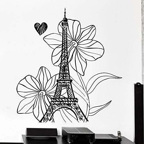 mlpnko Paris Tower Wandtattoo Holiday Flower Love Heart Romantisches Schlafzimmer Wohnzimmer Home Decoration Vinyl Sticker116X122cm