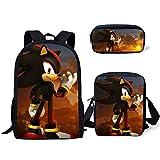 XINBANG Juguetes sónicos Pcs /Set Fashion Backpack Sonic The Hedgehog Pattern Kids School Bags Cartoon Animal Designer Teenagers Book-Bags Set