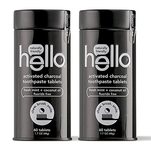 Hello Activated Charcoal Whitening Toothpaste Tablets Gently Remove Surface Stains, Delicious Farm Fresh Mint, Fluoride Free, 2 Plastic-Free, Travel-Friendly, & Reusable Metal Containers, 120 Tablets