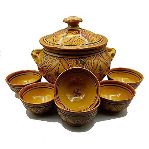 Sopera 6 tazas cerámica terracota marroquí sopa fondue cocina 2505210907