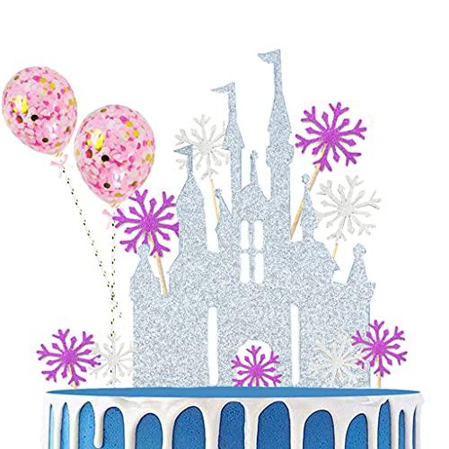Conruich 23 unidades de castillo de copo de nieve, decoración para tartas, globos de confeti, decoración para tartas de cumpleaños, para niños y niñas, color plateado