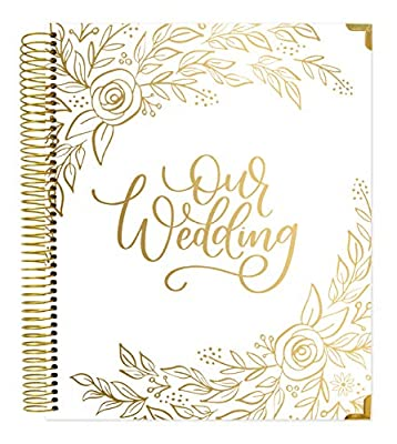 """bloom daily planners Hard Cover Wedding Day Planner & Organizer (Undated) - 9"""" x 11"""" - Gold Floral"""