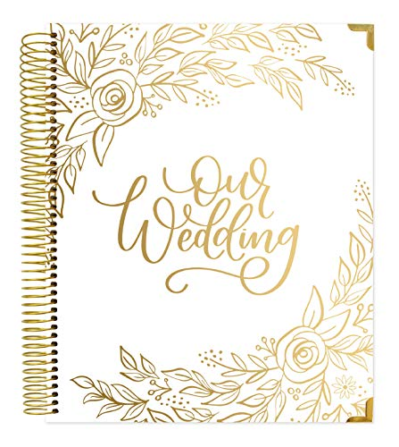 bloom daily planners Hard Cover Wedding Day Planner & Organizer (Undated) - 9' x 11' - Gold Floral