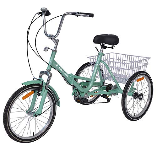 DoCred Adult Folding Tricycles, 7 Speed 20 Inch Three Wheel Bikes Adult Trikes with Low-Step Through Frame/Large Basket/Adjustable Seat, Tricycle for Adults, Women, Men, Seniors