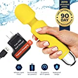Therapeutic Massager by Yarosi - Strongest Cordless Handheld Therapeutic Vibrating Power - Best Rated for Travel Gift - Magic Stress Away - Perfect on Back, Legs, Hand Pains - Yellow