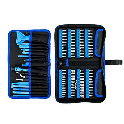 Juego de Destornilladores Mini 180 en 1 de Juego de Puntas de Destornillador para Reloj de teléfono portátil (Negro Azul)