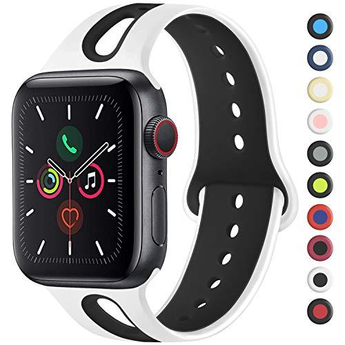 Meliya コンパチブル Apple Watch バンド アップルウォッチ バンド 新デザイン スポーツバンド 交換バンド 柔らかい シリコン素材 apple watch series 5/4/3/2/1に対応 (42mm/44mm M/L, 白/黒)