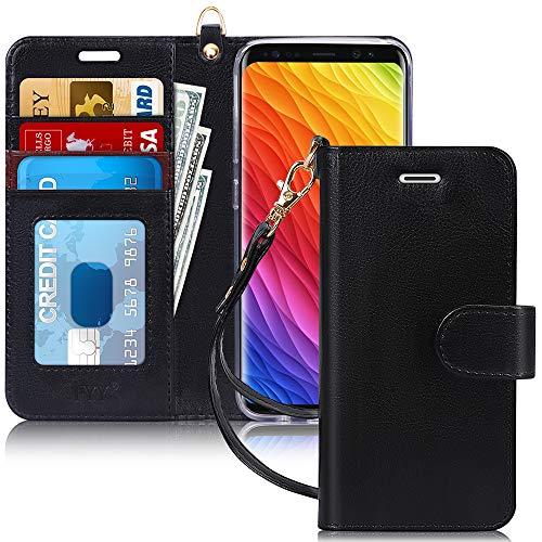 Capa de Celular FYY Para Samsung Galaxy S8, Flip, PU, Compartimento de Cartão e Suporte - Preto