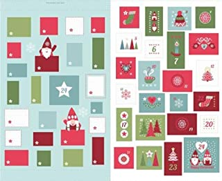 Christmas Panels Hygge Advent Calendar Blue 100% Cotton Fabric by The Panel 36