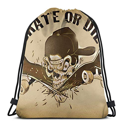 Lsjuee Classic Drawstring Bag, Skate Or Die Skull Gym Backpack Shoulder Bags Sport Storage Bag for Man Women