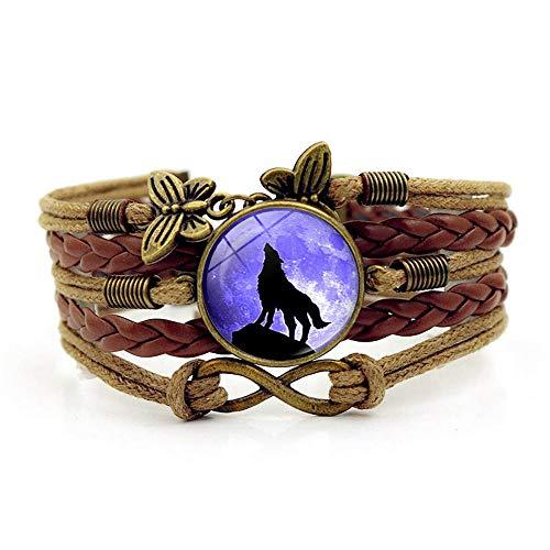 European style bracelet retro style jewelry Moon wolf howling Glass Time Gemstone Couple Bracelet Handmade Leather Woven Multilayer Bracelet Suitable for Men/Women