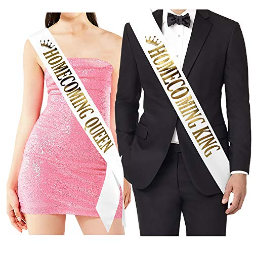 Homecoming King andHomecoming Queen Sashes - Homecoming Party Prom Sashes School Party Accessories, White with Gold Print