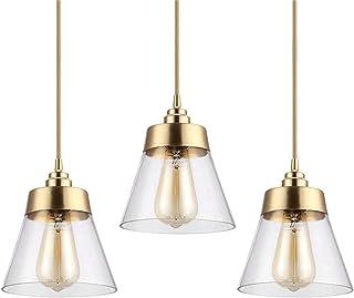 Hobaca E27 Or Le cuivre Moderne nordique Verre Luminaires Suspensions Lampe suspendue Abat-jour suspendu Luminaires pour C...
