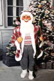 Fraser Hill Farm White Life-Size Indoor Christmas Decoration, 5-Ft. Standing Santa Claus Holding a Staff & Wearing a Tweed Jacket w Fur Trim