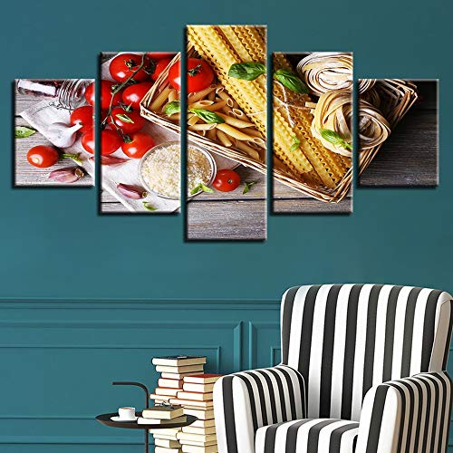 GVC 30X40X60X80 Canvas Pictures HD Prints Wall Art Cuadros Home Decor 5 Pieces Tomato Caprese Salad Pasta Painting Food Poster Modular Framework