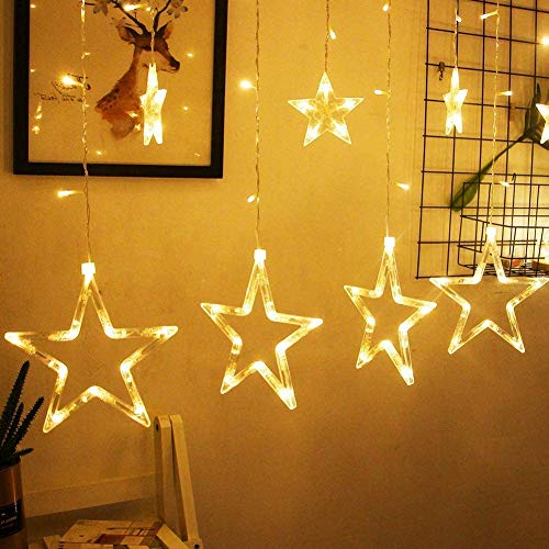 LED Lichtervorhang, Kaliwa Batteriebetriebe Lichterkette 138 LEDs Weihnachtsbeleuchtung mit 12 Sterne und LED Kugels, 2 Modi, IP44 Wasserdicht, ideal für Innenräume/Weihnachten/Partydeko (Warmweiß)